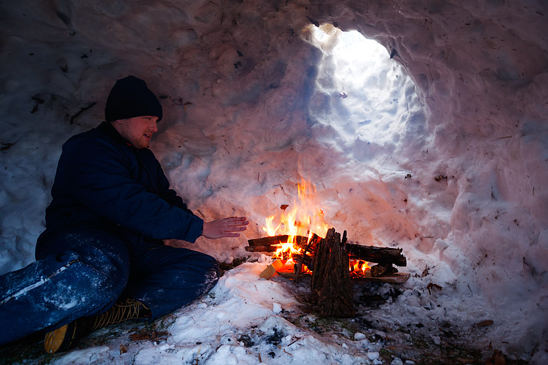 winter camping in a snow igloo