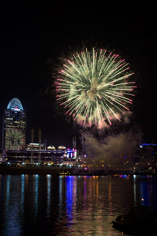 Fireworks over Ohio River, Cinncinati, OH, USA