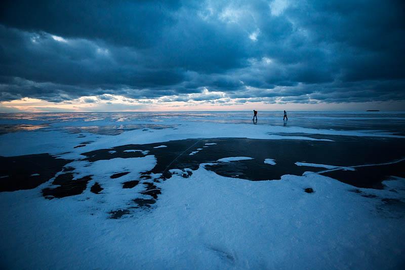 walking on frozen Lake Superior at night